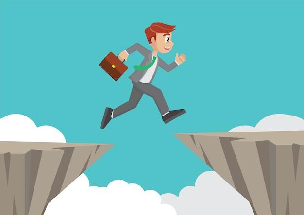 Businessman jump over cliff gap. Premium Vector