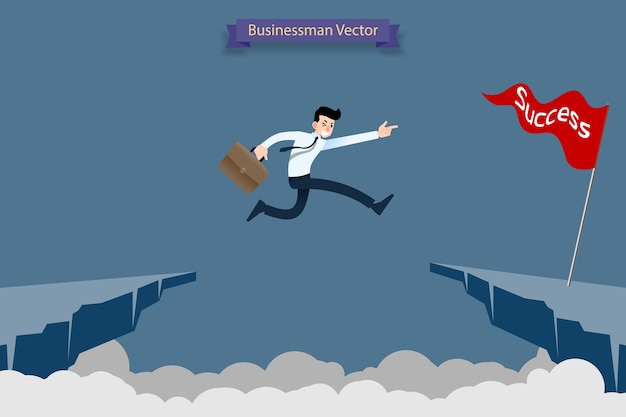 Businessman jump over the cliff to reach his success target. Premium Vector