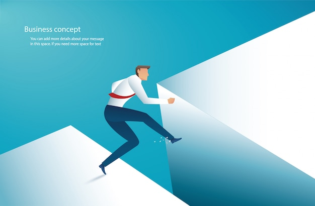 Businessman jump over gap to success Premium Vector