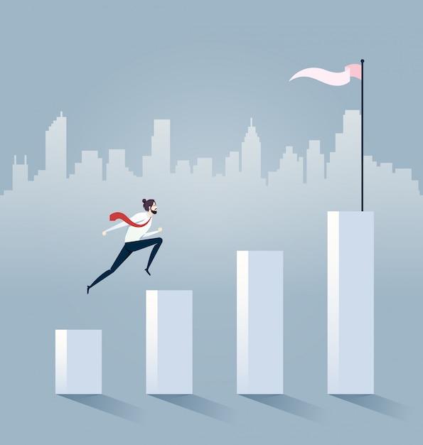 Businessman jump on graph columns Premium Vector
