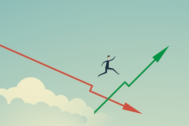 Businessman jump on the growing green graph Premium Vector