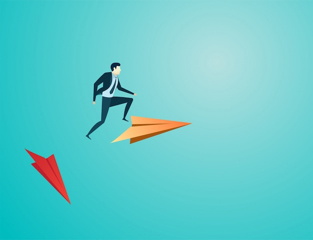 Businessman jump to new plane paper Premium Vector