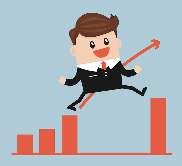 Businessman jump through the gap in growth chart vector Premium Vector