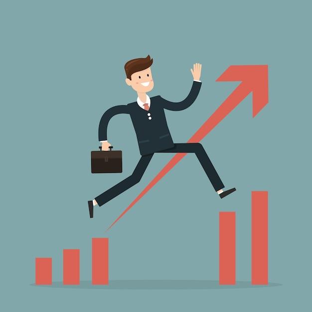 Businessman jump through the gap in growth chart vector Premium Vector