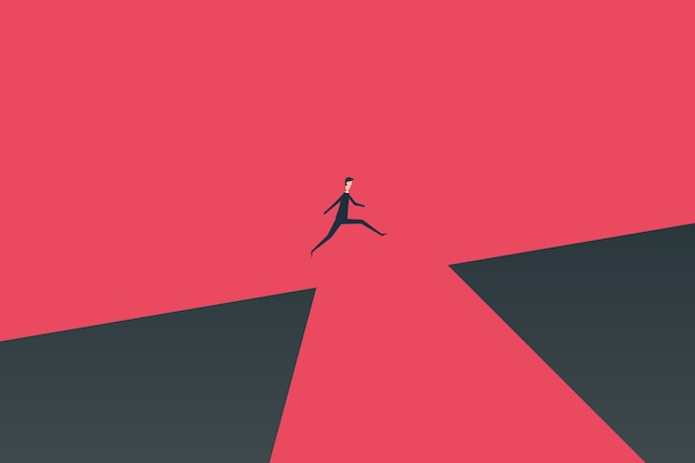 Businessman jumping over chasm vector concept. Premium Vector