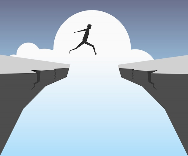 Businessman jumping over chasm Premium Vector