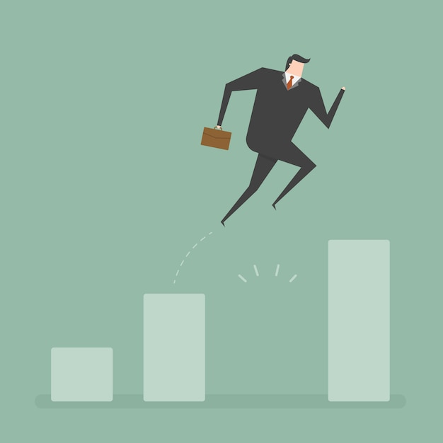 Businessman jumping design Free Vector