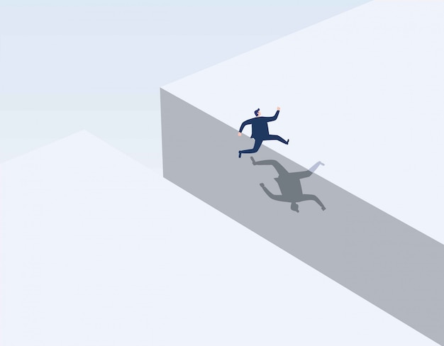 Businessman jumping over gap. Premium Vector