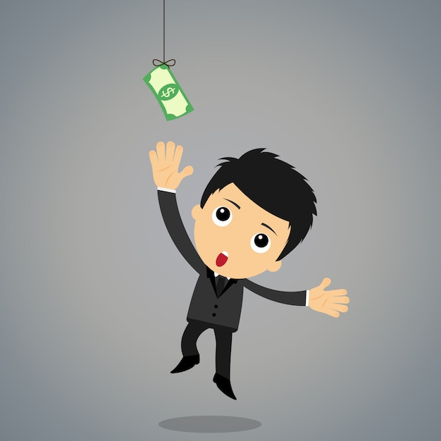 Businessman jumping to the money Premium Vector