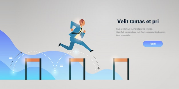 Businessman jumping over obstacle successful office worker business man leadership successful strategy horizontal copy space flat Premium Vector
