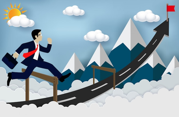 Businessman jumping over obstacles on the road, be successful business arrows, and overcome problems or obstacles Premium Vector