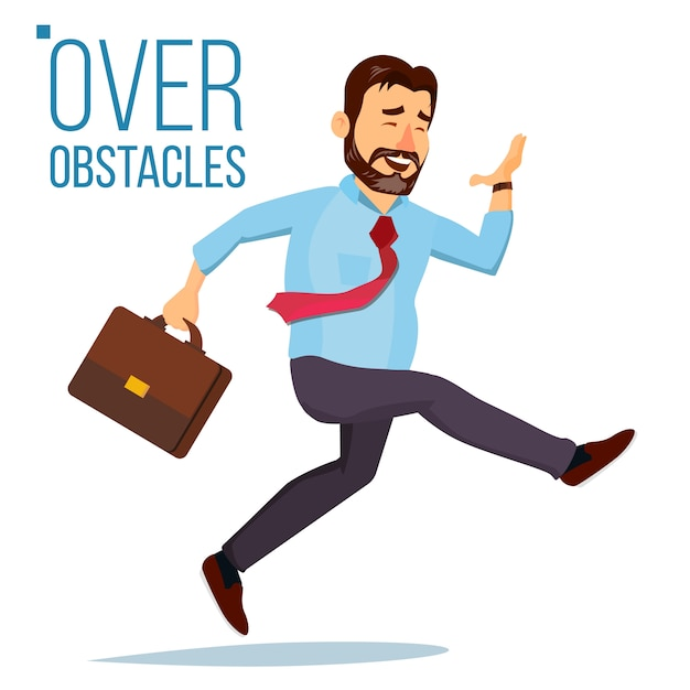 Businessman jumping over obstacles Premium Vector