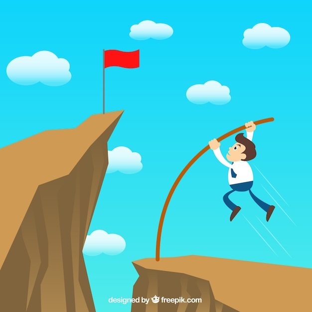 Businessman jumping over the hill Free Vector