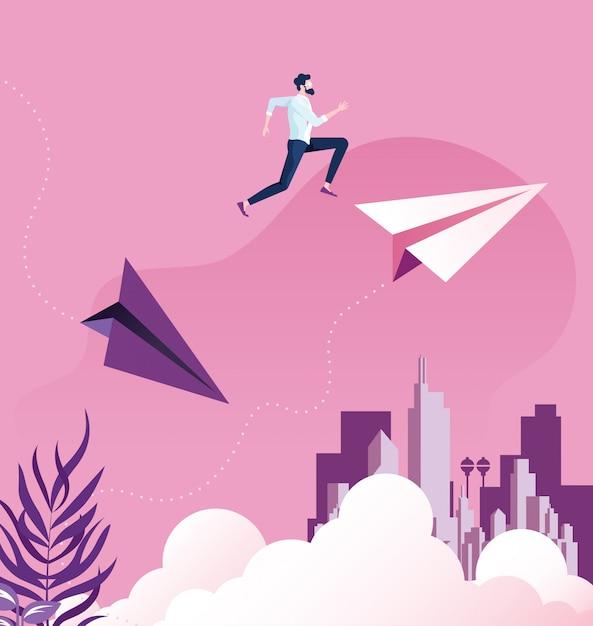 Businessman jumping between paper planes Premium Vector