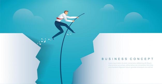 Businessman jumping with pole vault Premium Vector