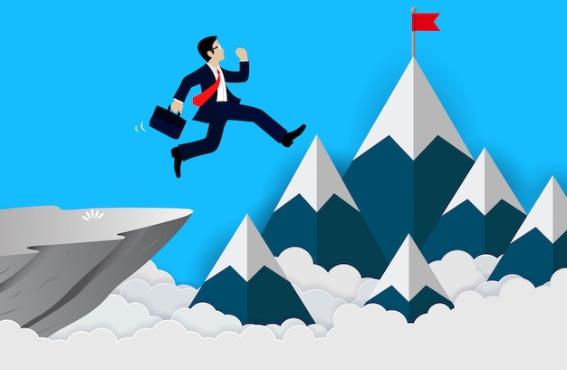 Businessman jumps from the cliff Premium Vector