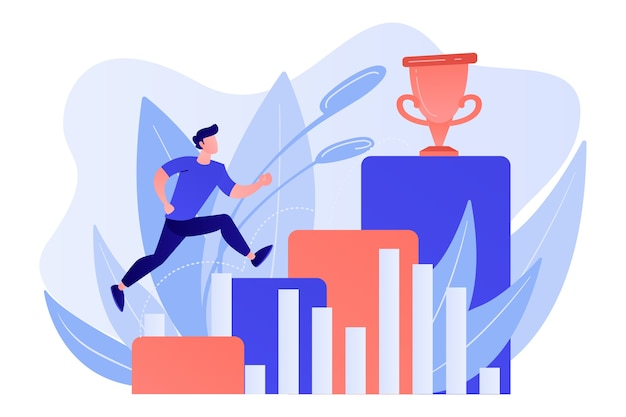 Businessman jumps on graph columns on the way to success. positive thinking and success achievement, self-confidence concept on white background. Free Vector