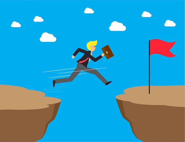 Businessman jumps over the ravine Premium Vector