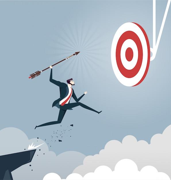 Businessman jumps throwing arrow to target, business success concept Premium Vector