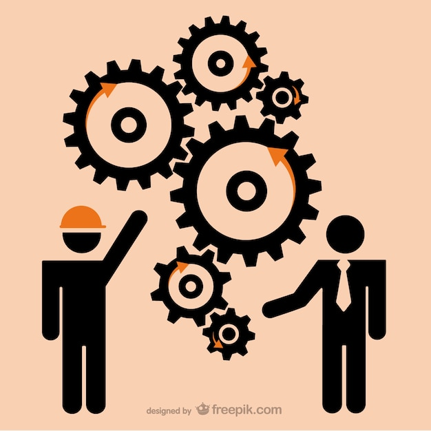 Businessman, labourer and gears Free Vector