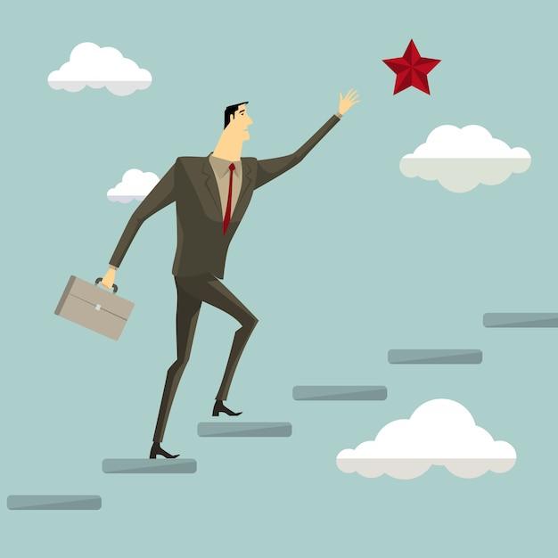 Businessman on a ladder grab the star above cloud Premium Vector