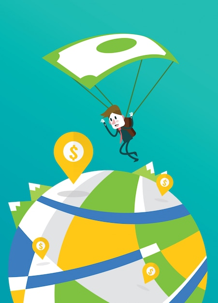 Businessman landing to the big money pin with banknote parachute. Premium Vector
