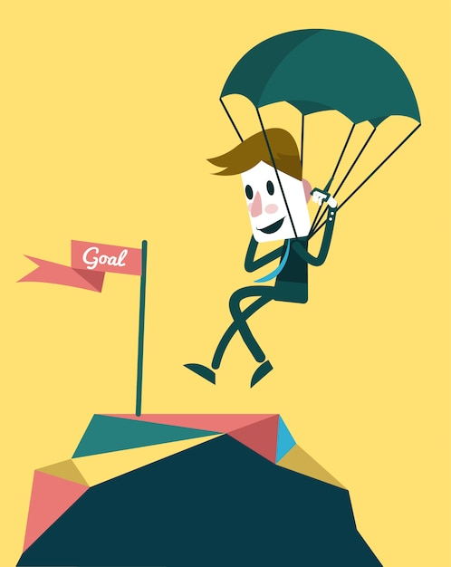 Businessman landing to the goal with parachute. Premium Vector
