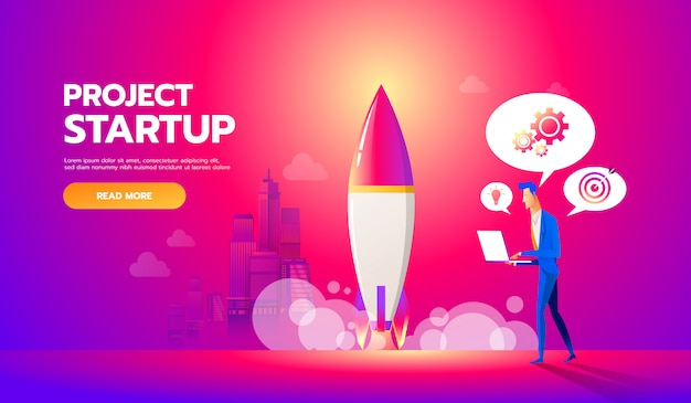 Businessman launches rocket into the sky. business startup concept Premium Vector