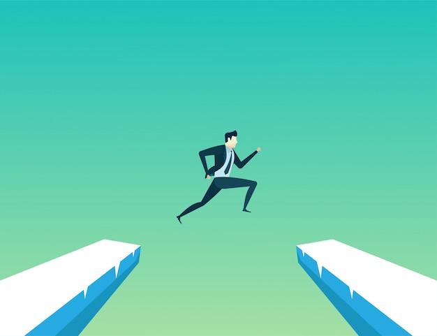 Businessman leader jump Premium Vector
