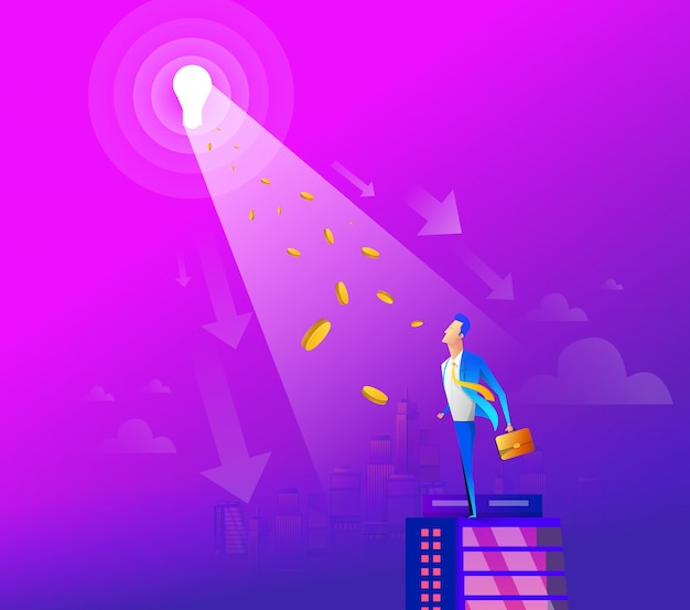 Businessman or leader standing out of the crowd with shining idea Premium Vector