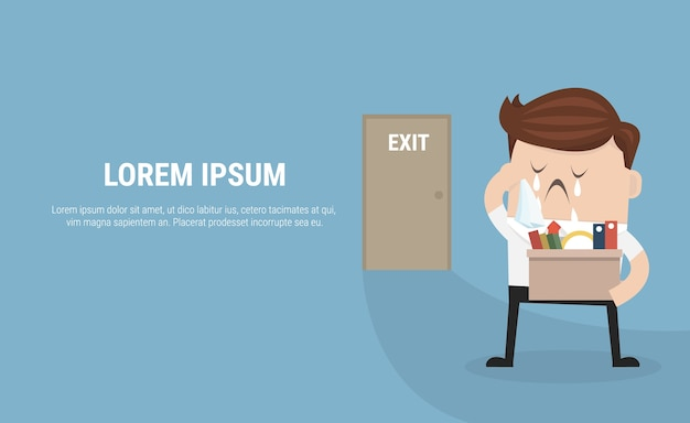 Businessman leaving job vector Premium Vector