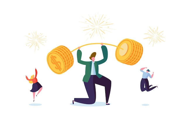Businessman lifting up barbell with golden coins. financial success team work concept. business achievement making money. people celebrating. Premium Vector