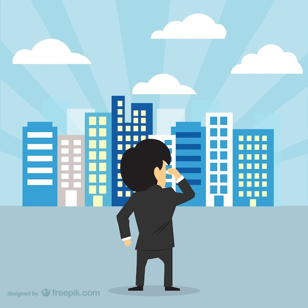 Businessman looking at city skyline Free Vector