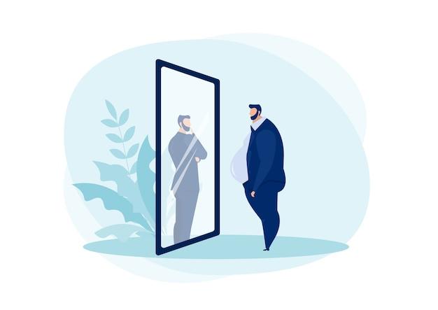 Бизнесмен, глядя в зеркало, стоя с толстым животом. Premium векторы