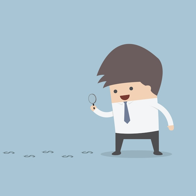 Businessman looking on dollar through magnifying glass Premium Vector