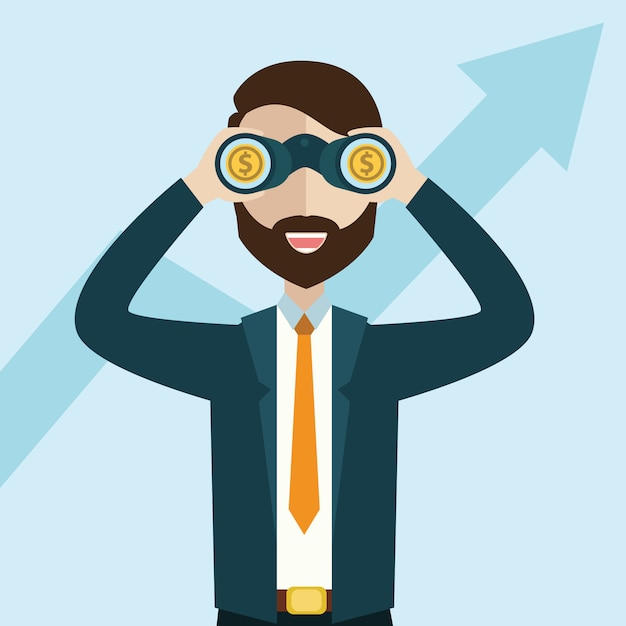 Businessman looking for growth chart and money .vision concept. cartoon vector illustration Premium Vector