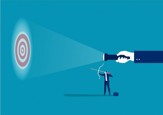 成功の概念ベクトルイラストレーターを撮影するためのターゲットでガイドラインを探しているビジネスマン Premiumベクター