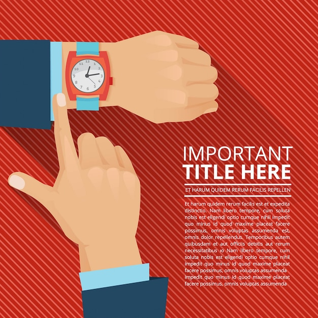 Businessman looking on the hand watch. Premium Vector