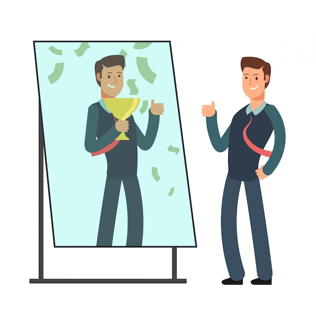 Businessman looking himself happy and successful in mirror reflection. success in business and winner Premium Vector