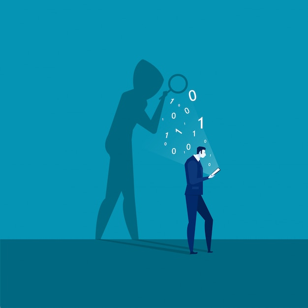 Businessman looking on laptop smartphone with shadow mask stealing passwords Premium Vector