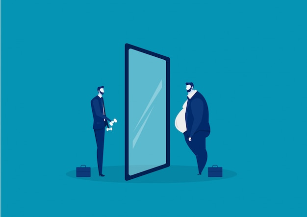 Businessman looking at the mirror standing with fat belly. compare body thin Premium Vector
