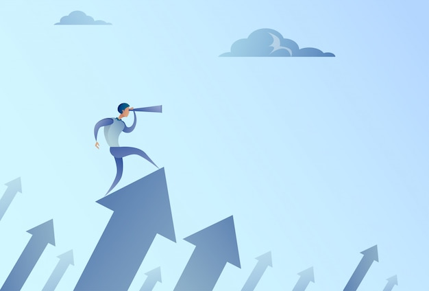Businessman looking with binocular on financial arrow graph successful business man growth increase Premium Vector
