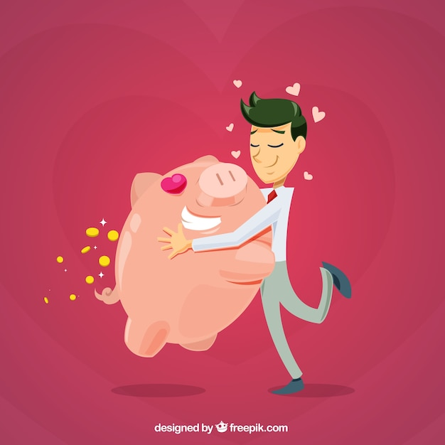 Businessman love background with his piggy bank Free Vector