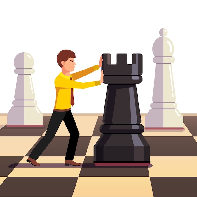 Businessman making move on a business chessboard Free Vector