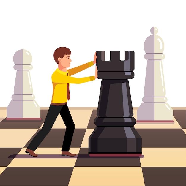 Бизнесмен делает движение на бизнес-шахматной доске Бесплатные векторы