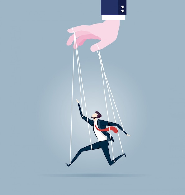 Businessman marionette on ropes controlled by hand Premium Vector