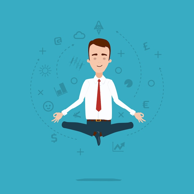 Businessman meditates in lotus pose. cloud of thoughts and ideas Premium Vector