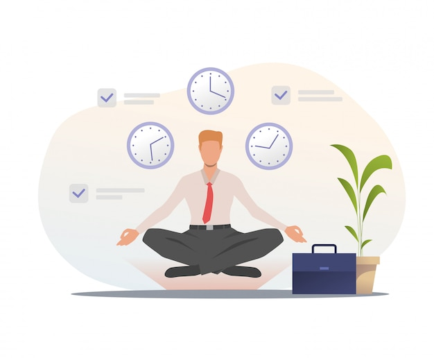 Businessman meditating in office Free Vector