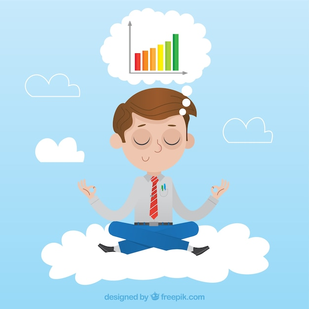 Businessman meditating and thinking in charts Free Vector