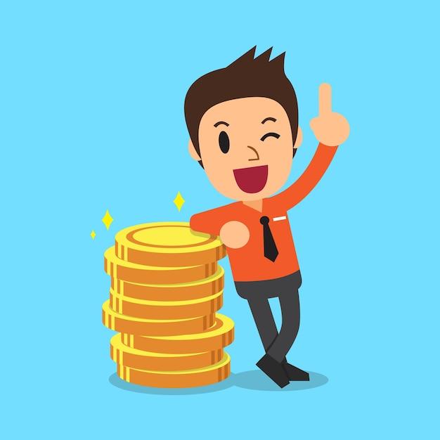 Businessman and money coins Premium Vector